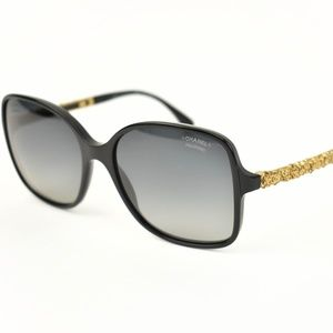 CHANEL: Black/Gold-Plated CC Polarized Sunglasses